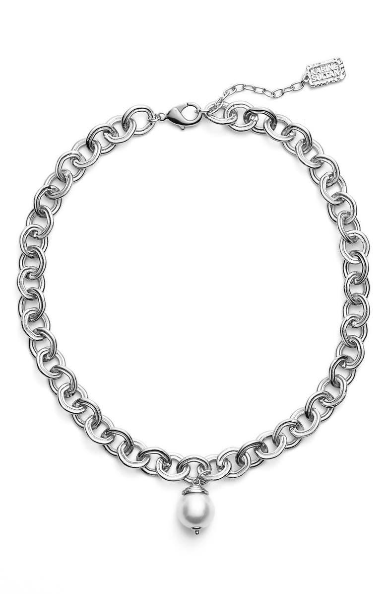KARINE SULTAN Short Imitation Pearl Collar Necklace, Main, color, SILVER