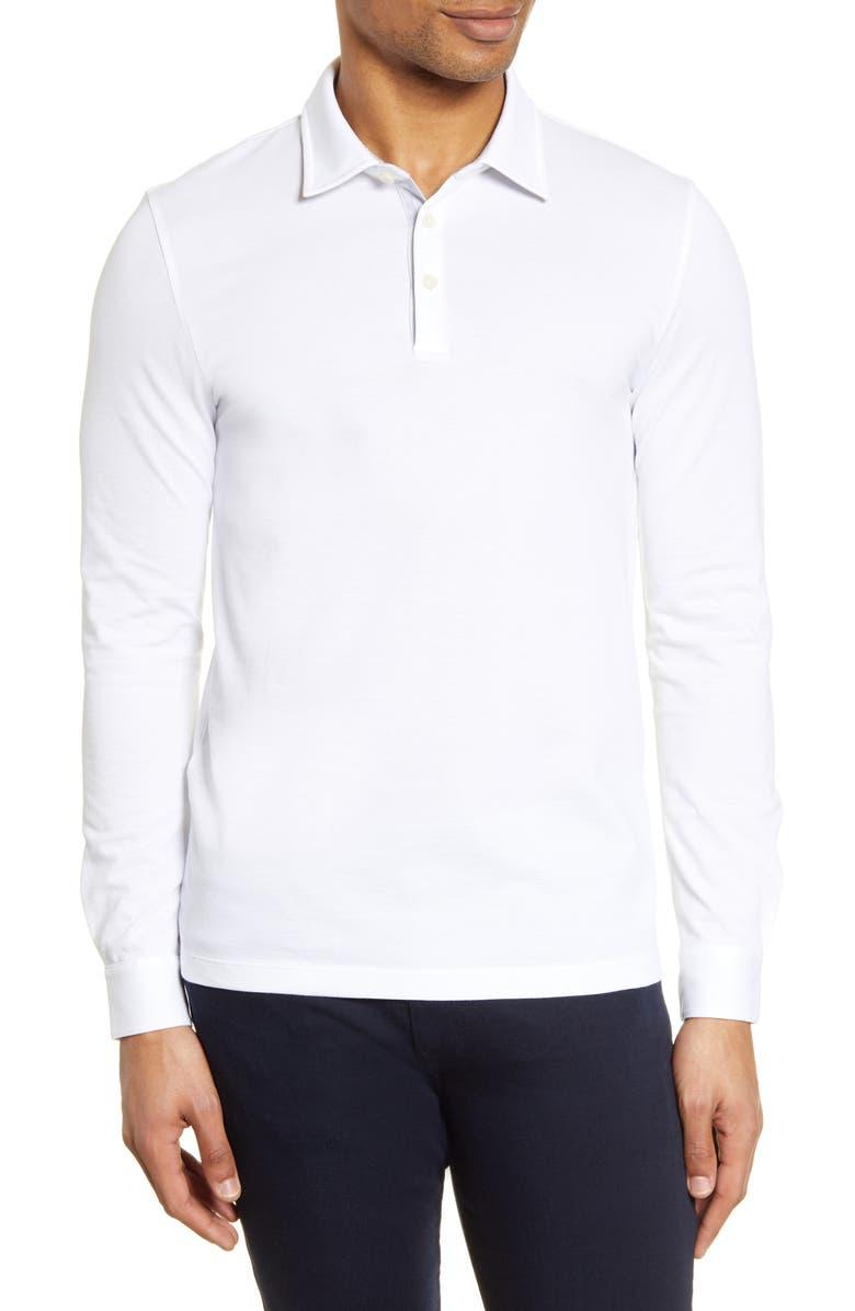 BOSS Paver Cotton Long Sleeve Polo Shirt, Main, color, 100