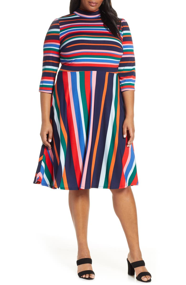 ELOQUII Multicolor Stripe Fit & Flare Dress, Main, color, SPRING RAINBOW STRIPE