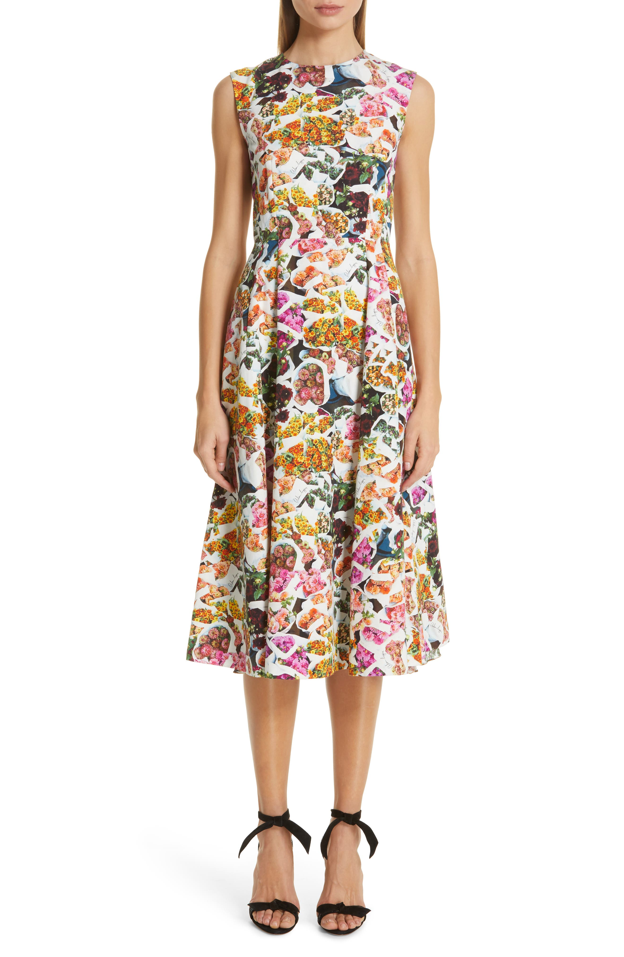 women's adam lippes floral print cotton & silk dress