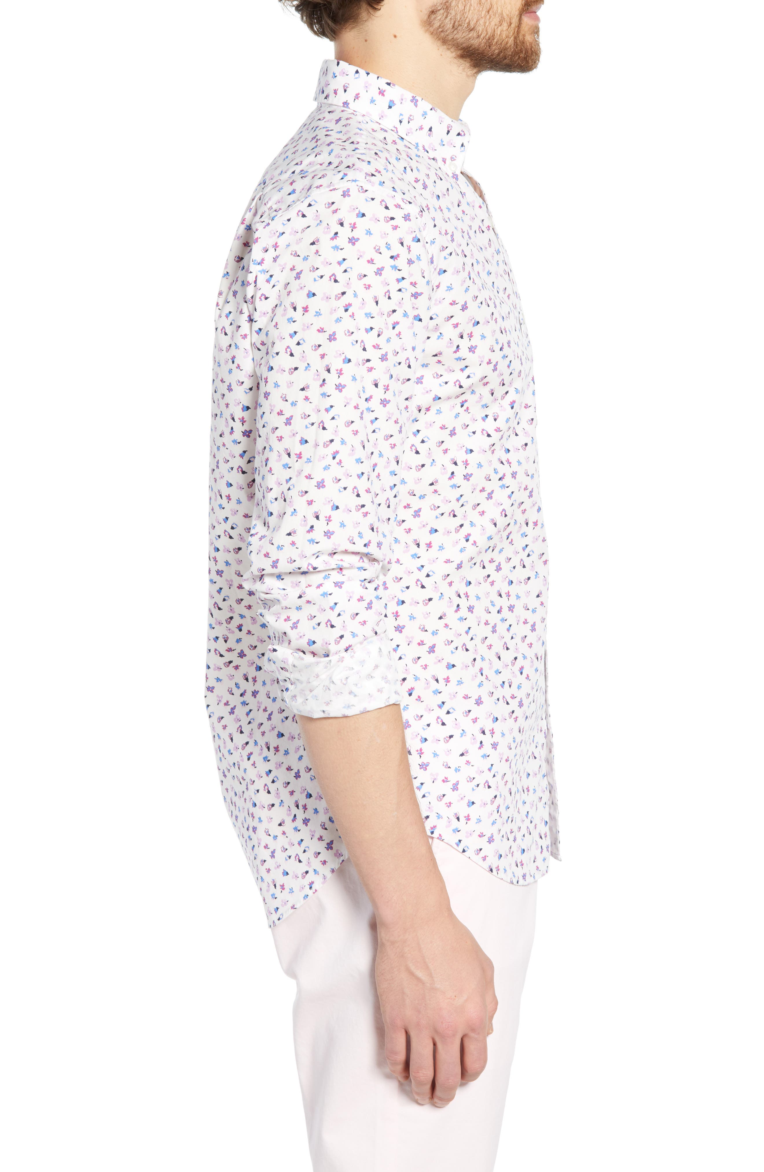 ,                             Washed Button Down Slim Fit Floral Print Sport Shirt,                             Alternate thumbnail 4, color,                             SMALL FLOWER SCATTER
