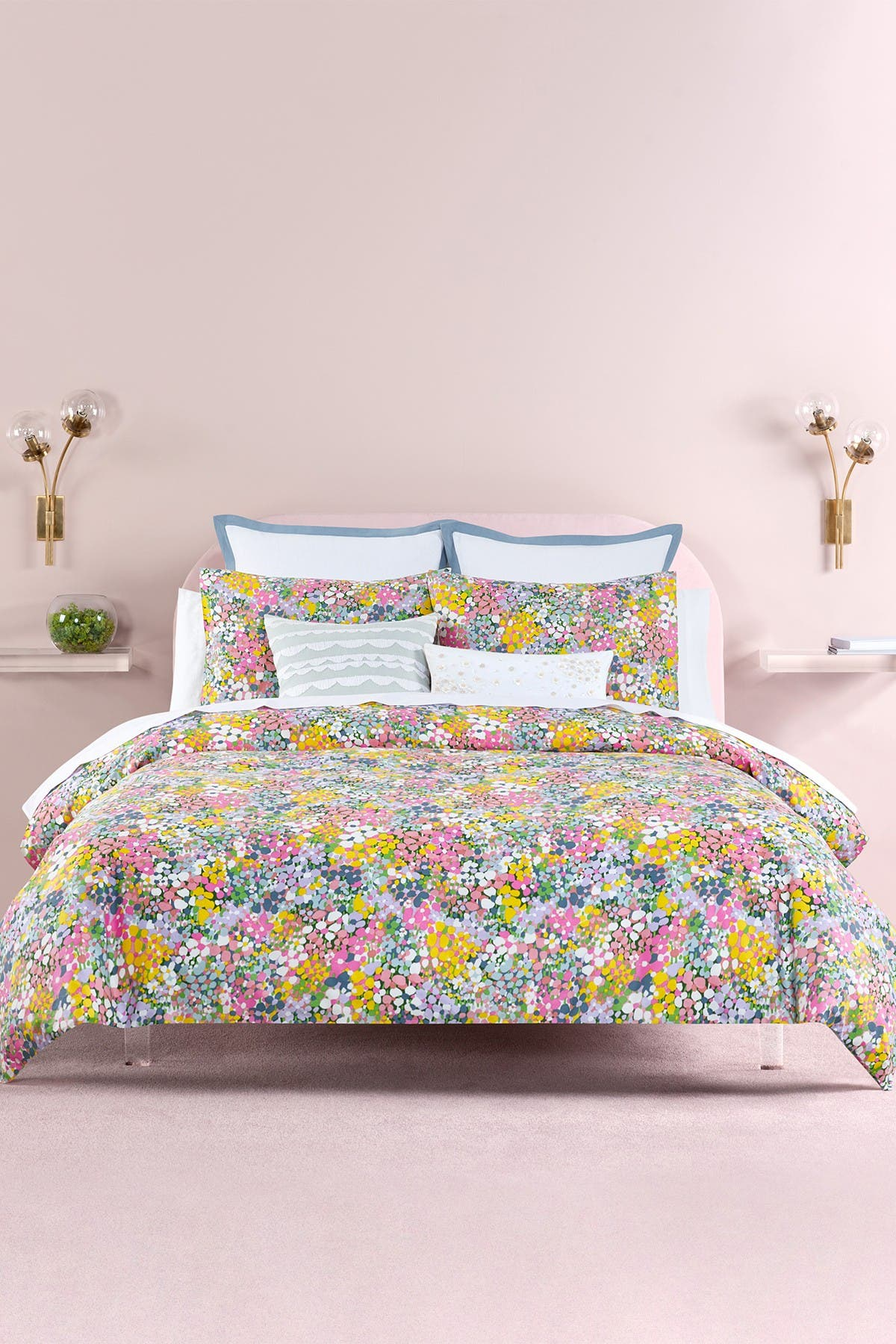 Image of kate spade new york floral dots duvet cover 3-piece set - king - lilac