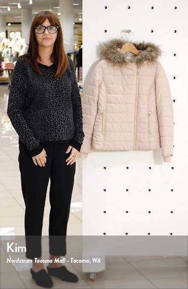 Quilted Faux Fur Trim Hooded Jacket, sales video thumbnail