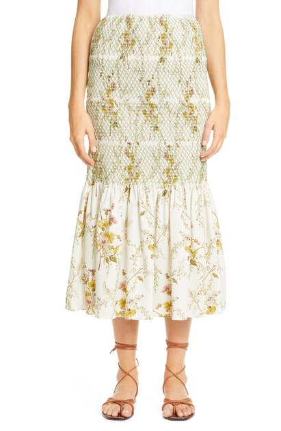 Brock Collection FLORAL SMOCKED STRETCH COTTON SKIRT