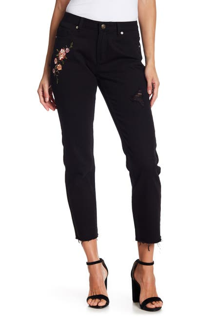 Image of Blu Pepper Floral Embroidered Distressed Jeans
