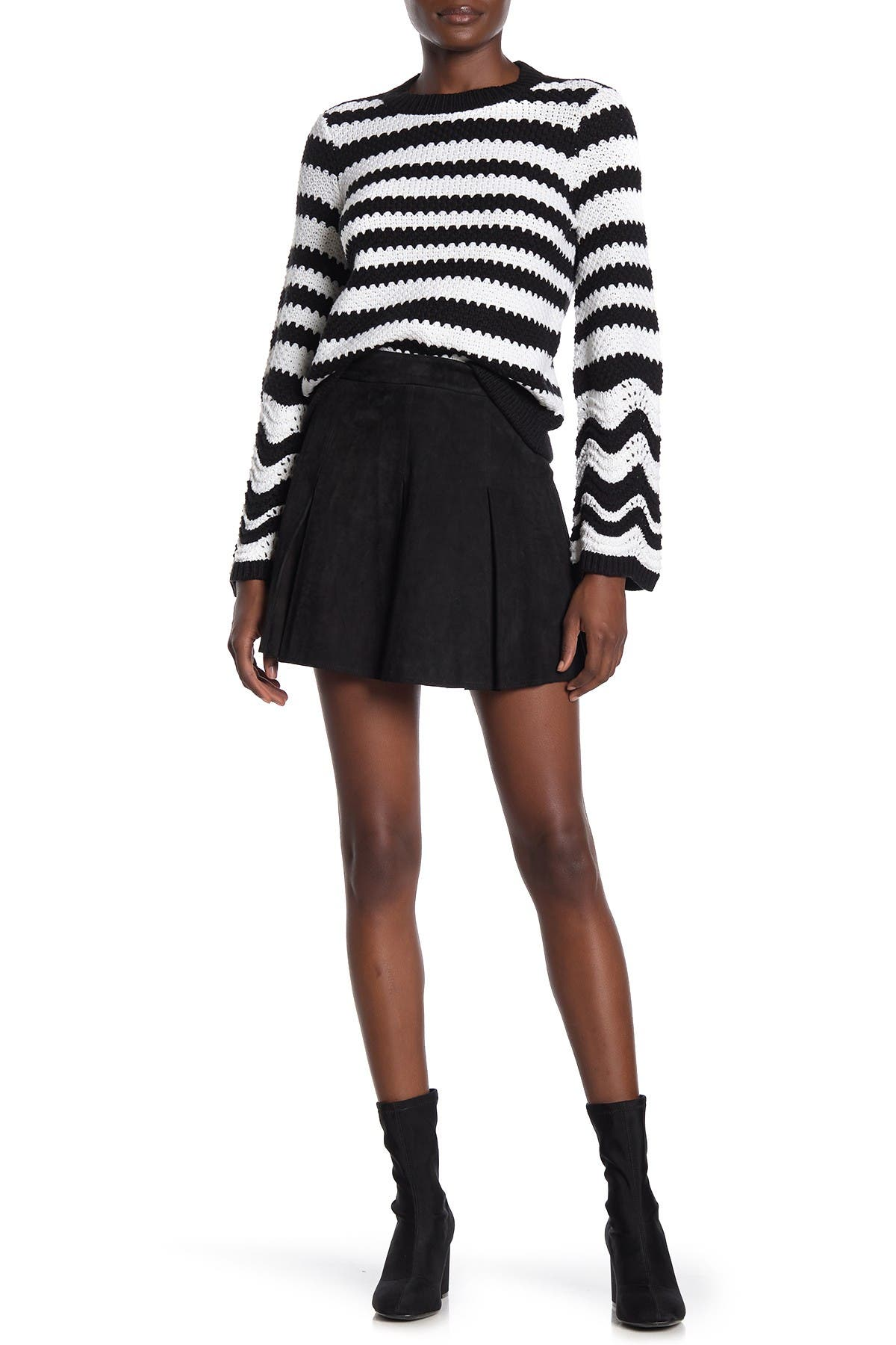 Image of alice + olivia Lee Suede Box Pleated Mini Skirt
