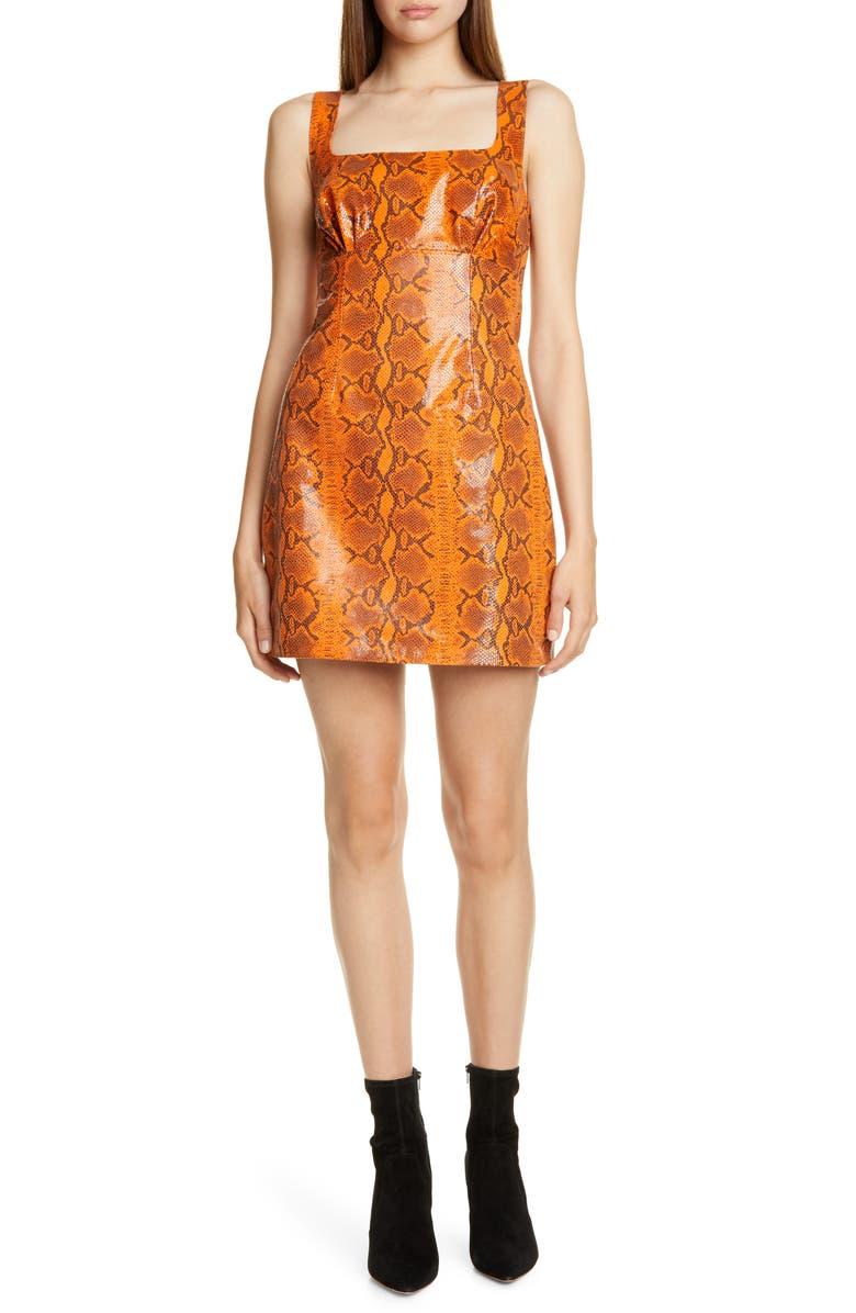 GRLFRND Romi Snake Print Leather Minidress, Main, color, 800