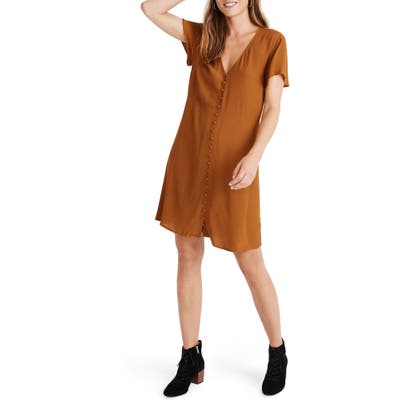 Madewell V-Neck Button Front Dress, Brown