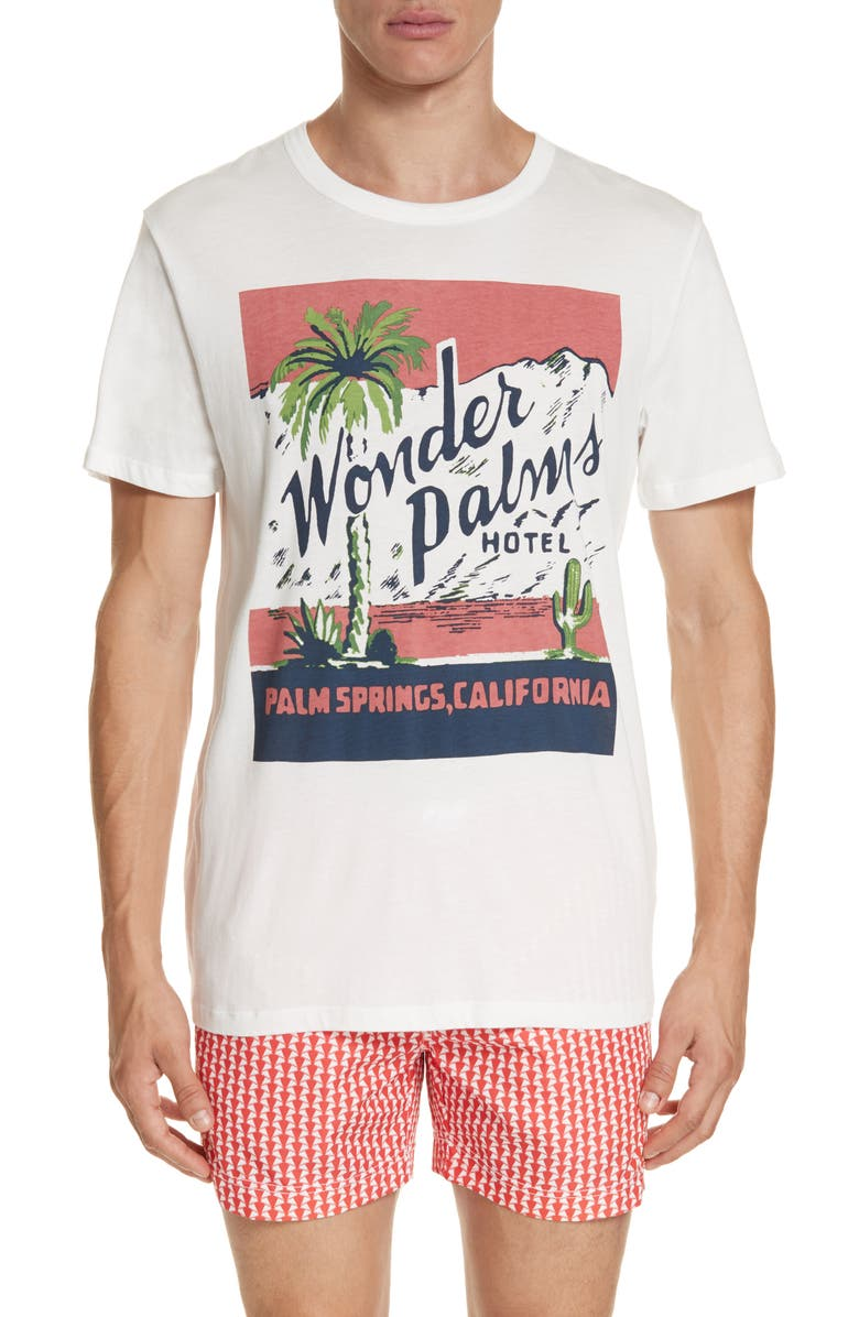 ONIA Johnny Wonder Palms T-Shirt, Main, color, WHITE