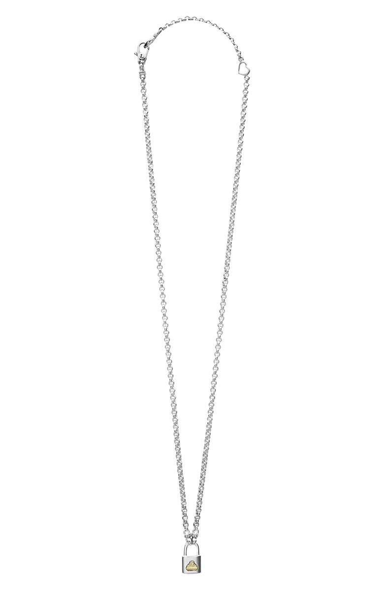 LAGOS Beloved Small Lock Pendant Necklace, Main, color, SILVER