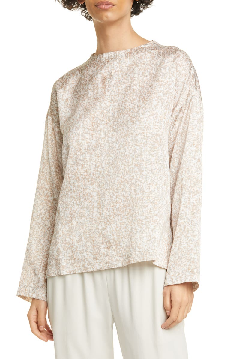 EILEEN FISHER Funnel Neck Silk & Cotton Top, Main, color, BRAMBLE