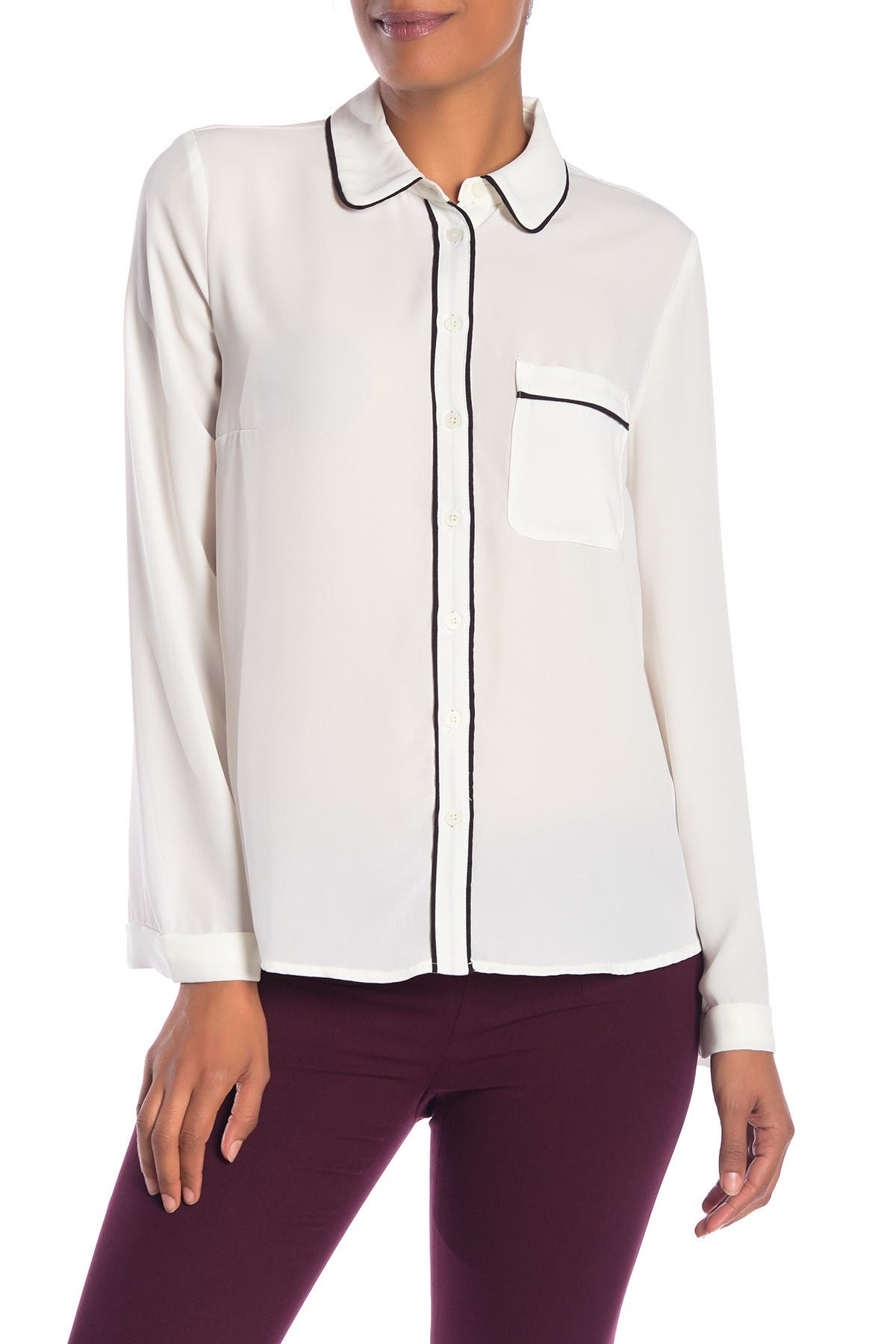Image of Philosophy Apparel Piped Button Front Blouse