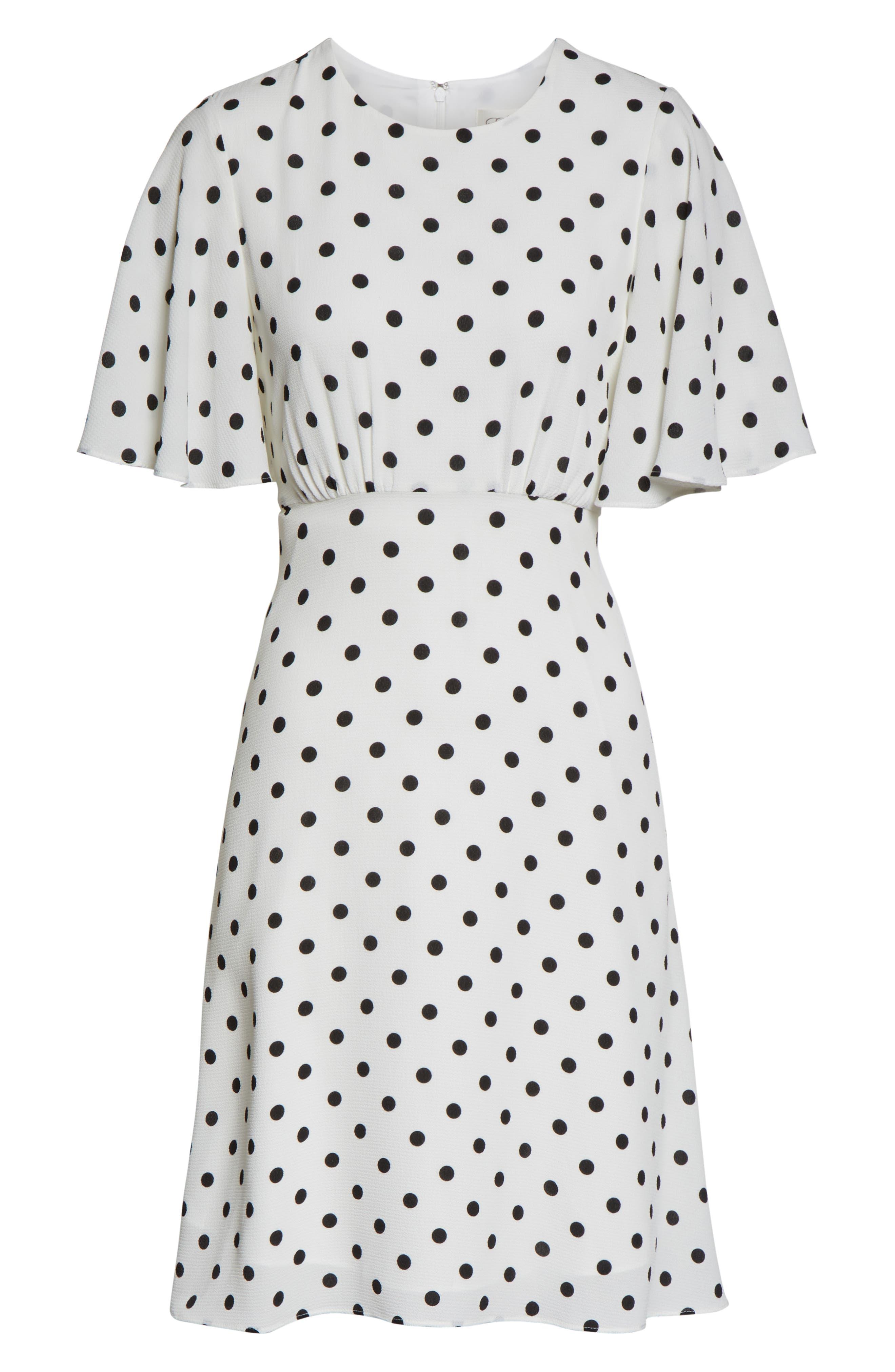 ,                             Dot High/Low Fit & Flare Dress,                             Alternate thumbnail 7, color,                             BLACK/ WHITE