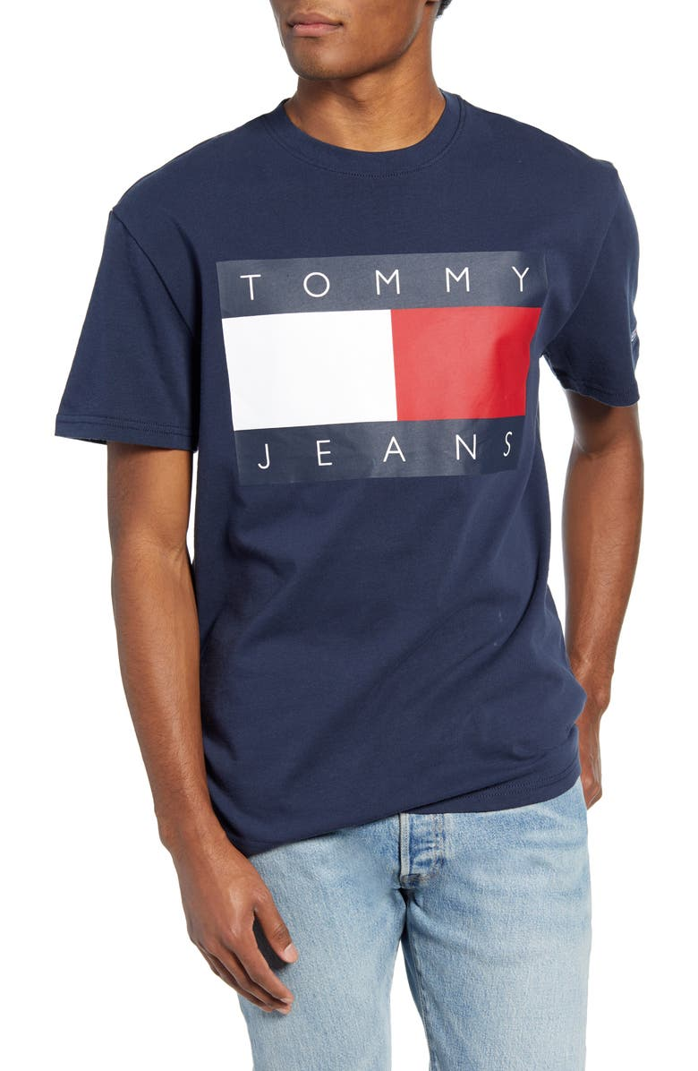 TOMMY JEANS TJM Tommy Flag Graphic T-Shirt, Main, color, BLUE