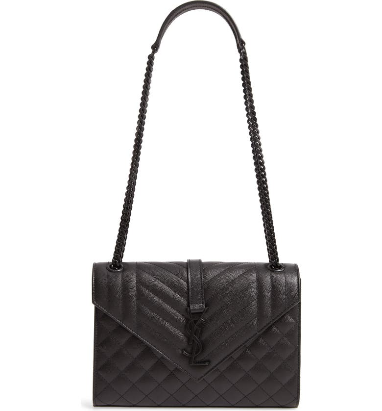 SAINT LAURENT Medium Monogram Quilted Leather Shoulder Bag, Main, color, NOIR