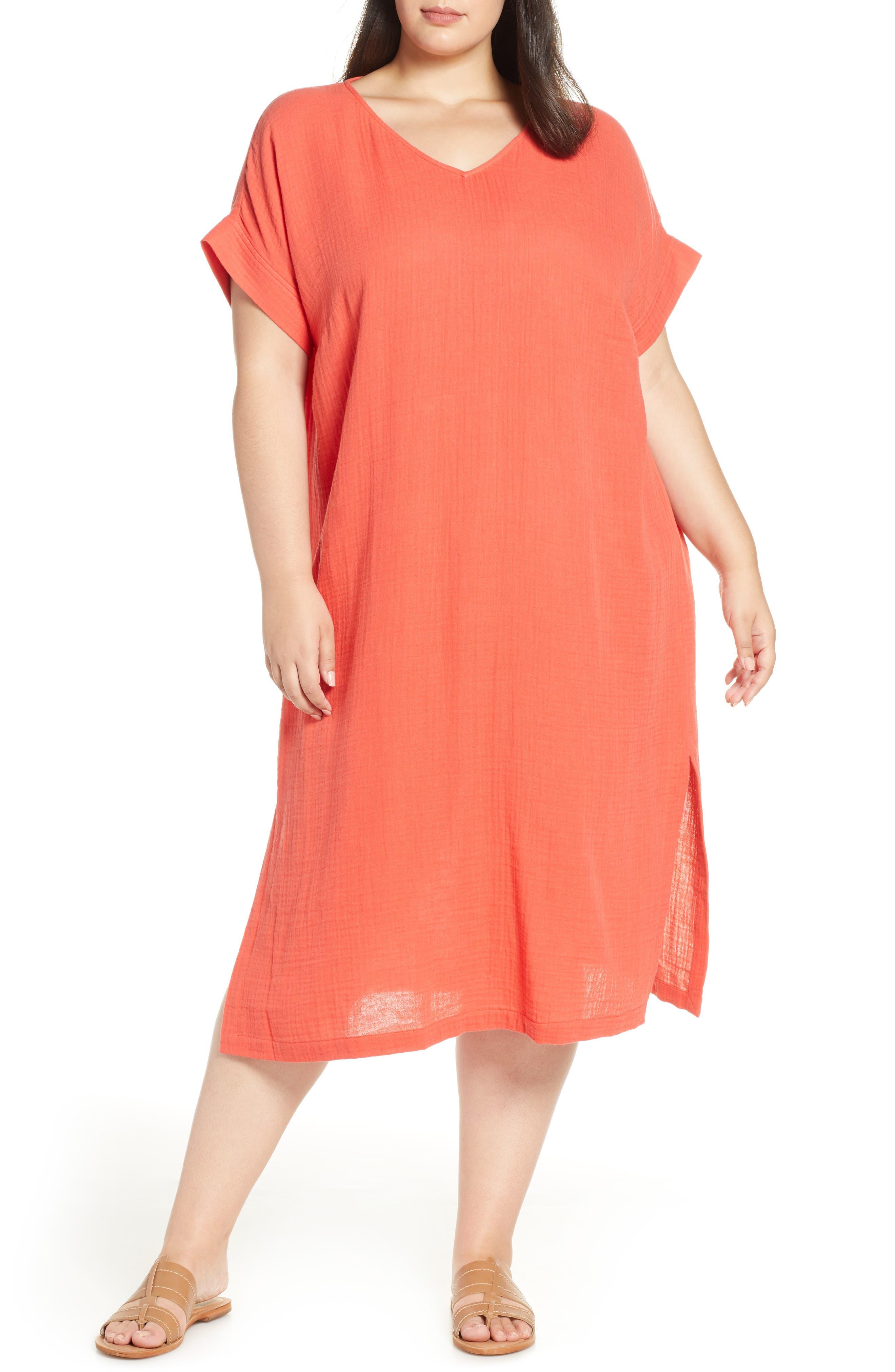 Plus Size Eileen Fisher Organic Cotton Midi Dress, Red