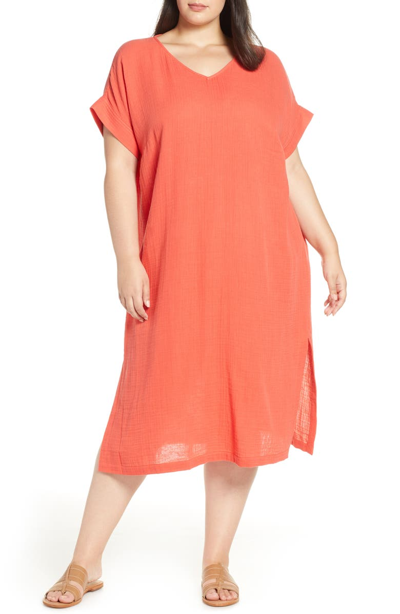 Eileen Fisher Organic Cotton Midi Dress Plus Size