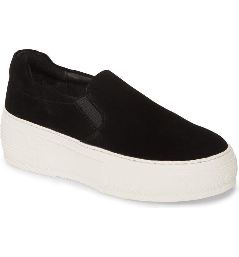 JSLIDES Cleo Platform Slip-On Sneaker, Main, color, BLACK SUEDE