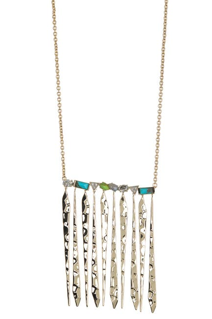 Image of Alexis Bittar Mixed Stone & Metal Fringe Pendant Necklace