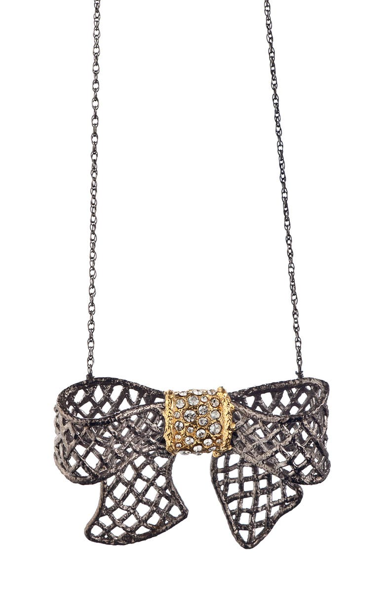 ALEXIS BITTAR 'Elements' Pavé Bow Necklace, Main, color, GUNMETAL