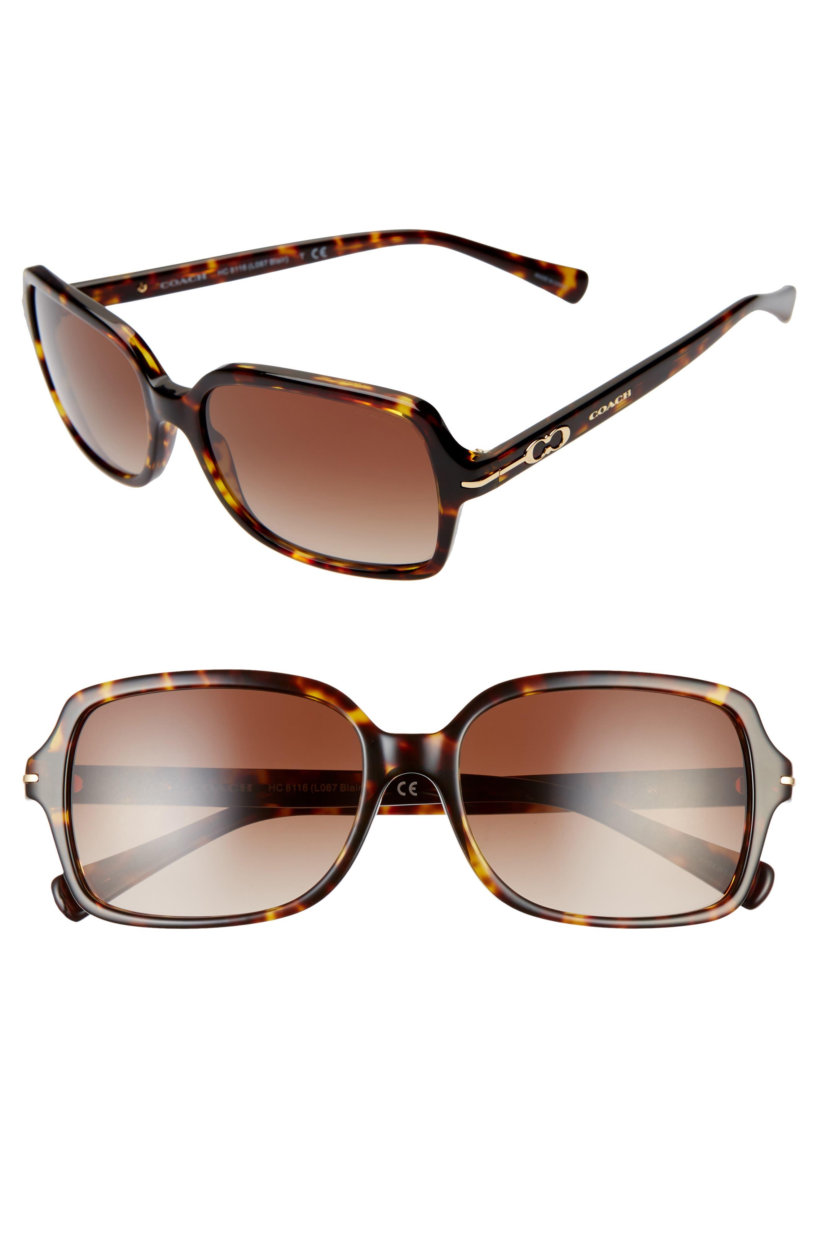 3b1fb0d1efc6 Women's Coach 56Mm Rectangular Sunglasses - Havana/ Brown Gradient