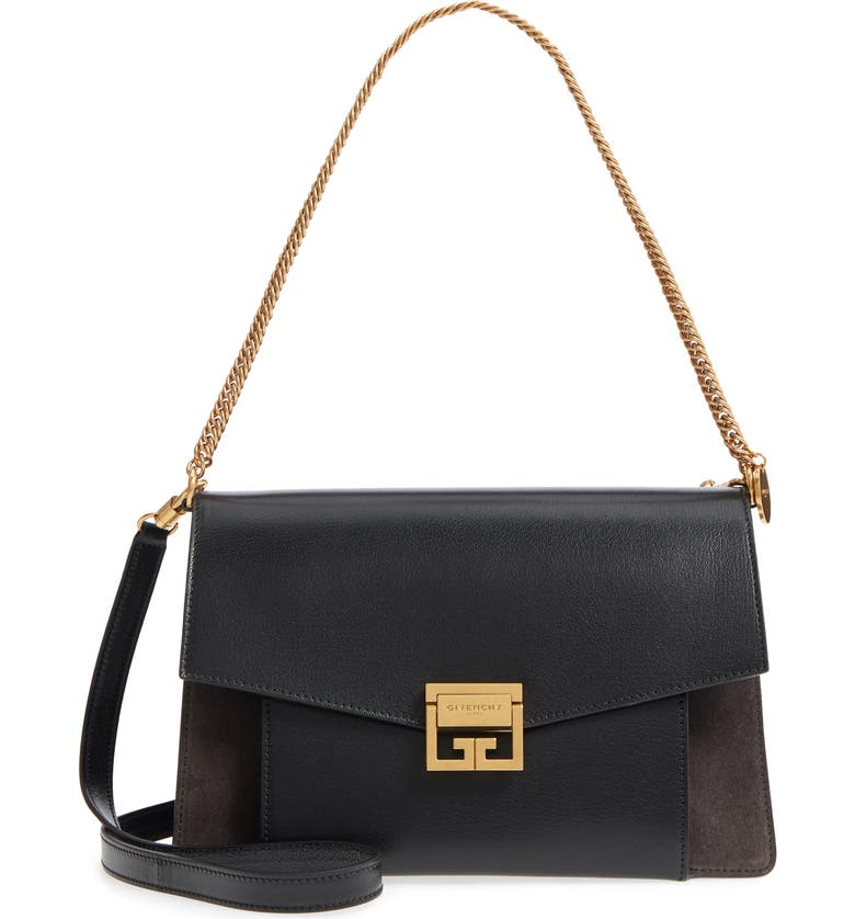 GIVENCHY Medium GV3 Leather Crossbody Bag, Main, color, BLACK/ GREY