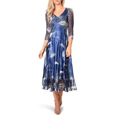 Petite Komarov Botanical Print Charmeuse Midi Dress, Blue