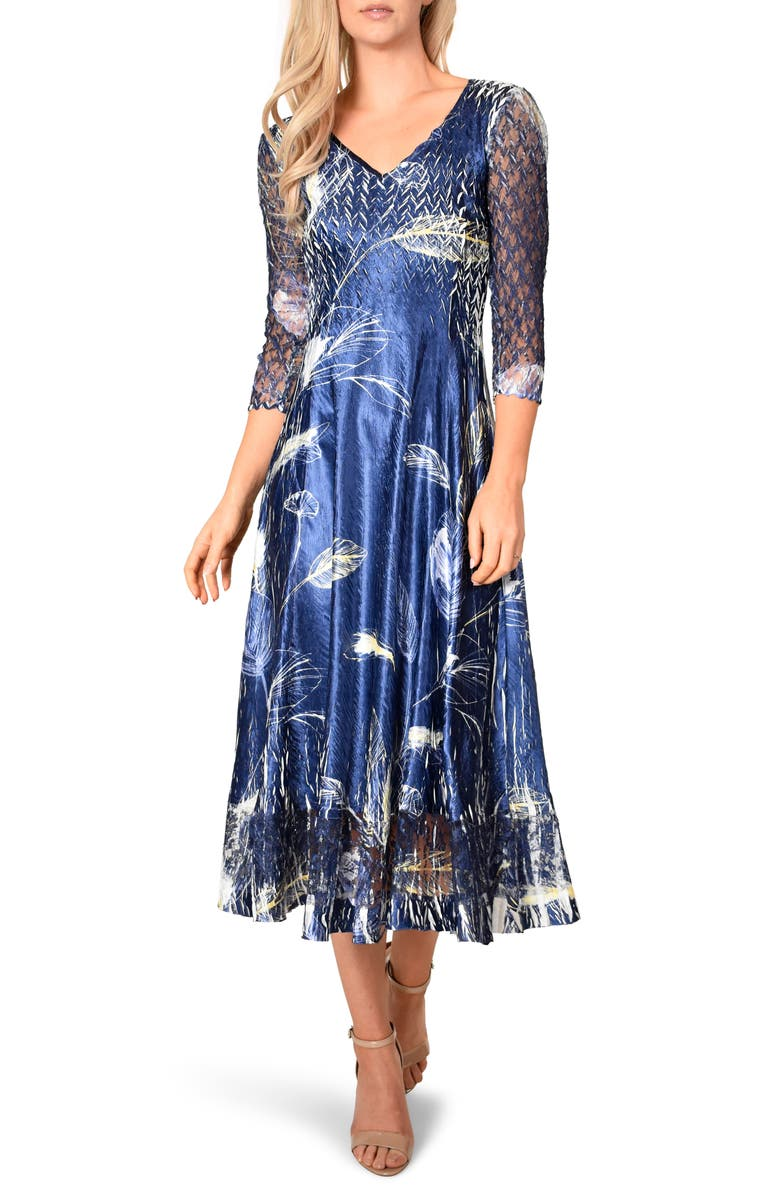 KOMAROV Botanical Print Charmeuse Midi Dress, Main, color, INDIGO TROPIC