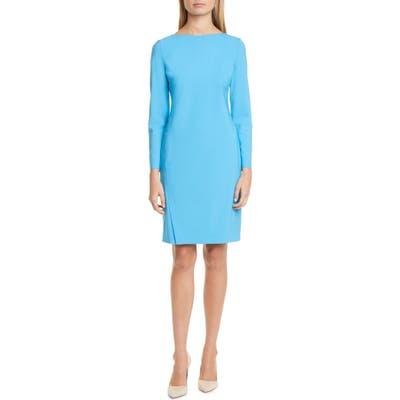 Boss Diwoma Long Sleeve Stretch Wool Dress, Blue