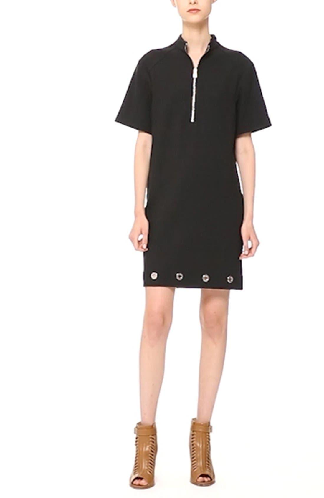 ,                             Grommet Detail Stretch Cotton Shift Dress,                             Alternate thumbnail 2, color,                             001