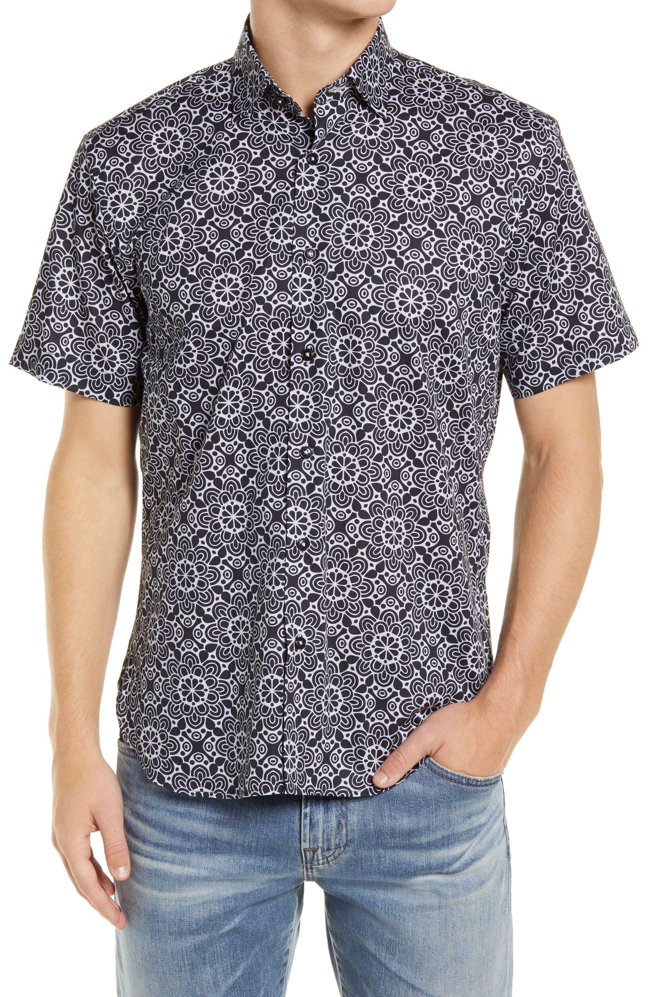 Wallpaper Floral Medallion Short Sleeve Stretch Button-Up Shirt