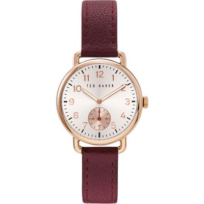 Ted Baker London Hannahh Sub-Eye Leather Strap Watch,