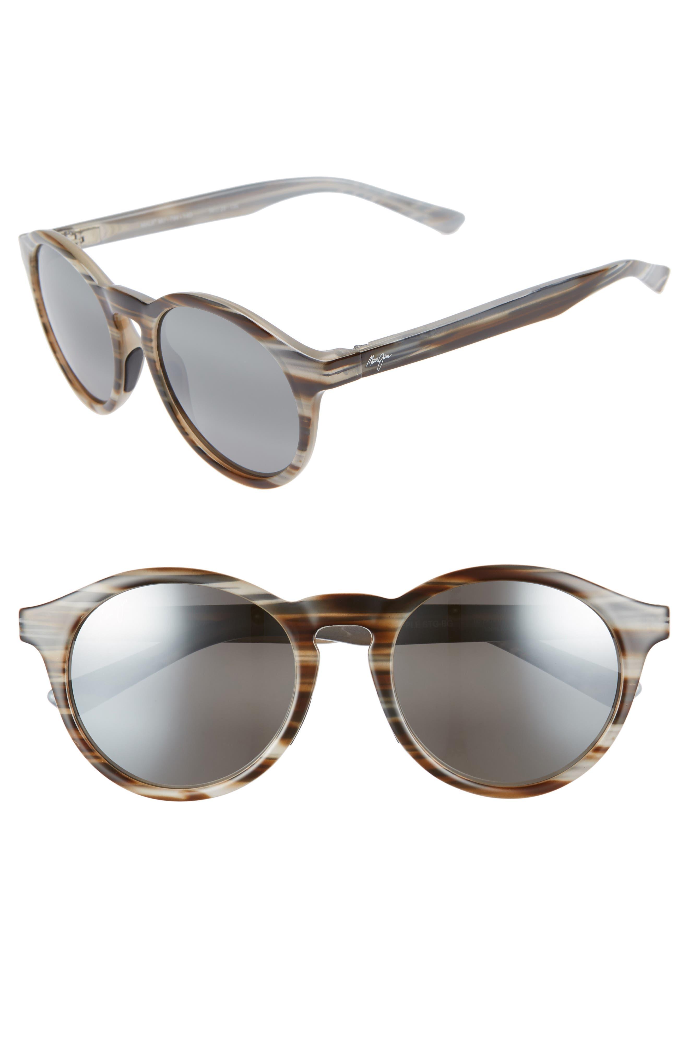 Maui Jim Pineapple 50Mm Polarized Round Sunglasses - Slate Grey/ Brown Stripe