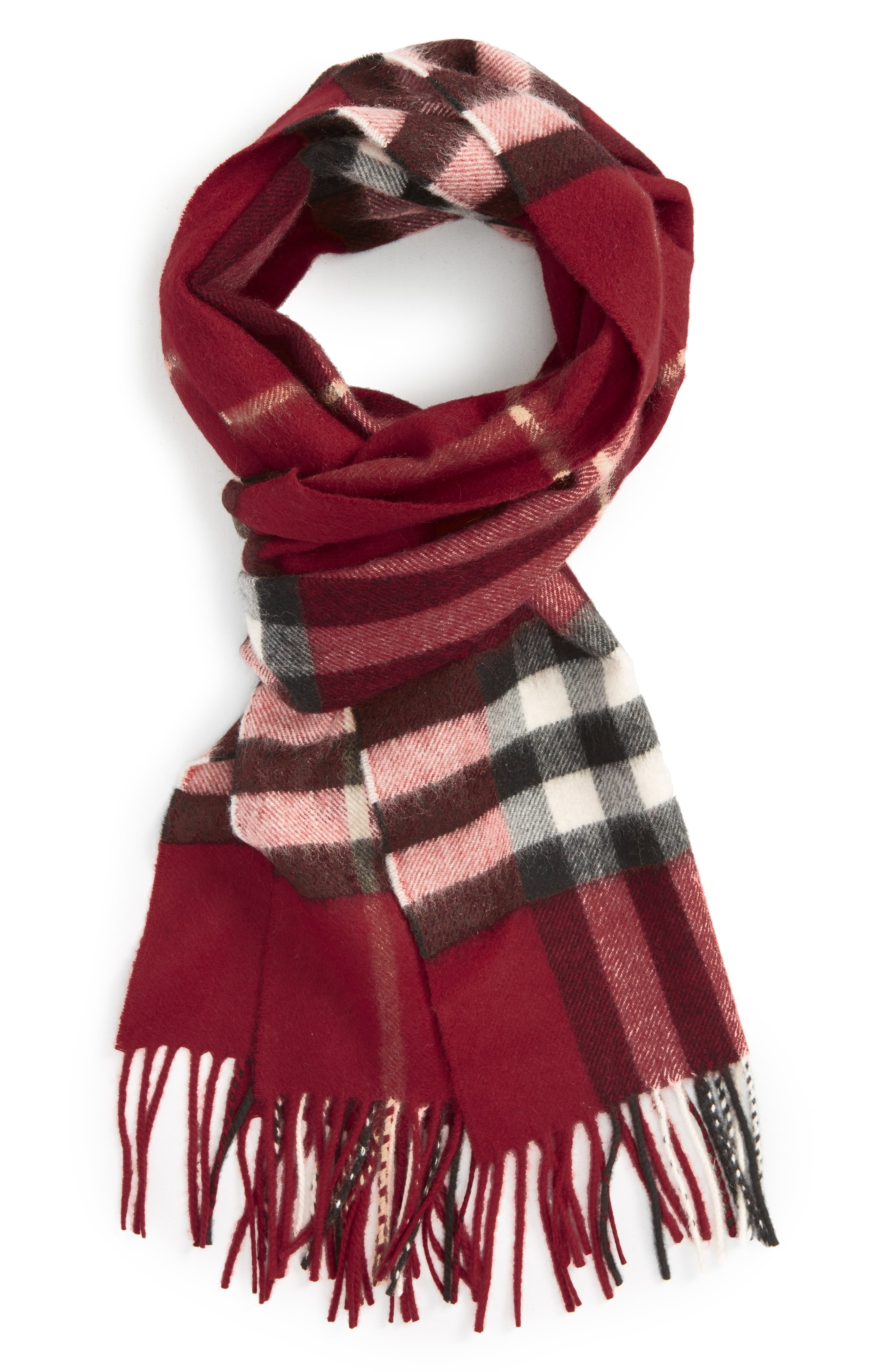 ,                             Giant Check Cashmere Scarf,                             Alternate thumbnail 2, color,                             PARADE RED