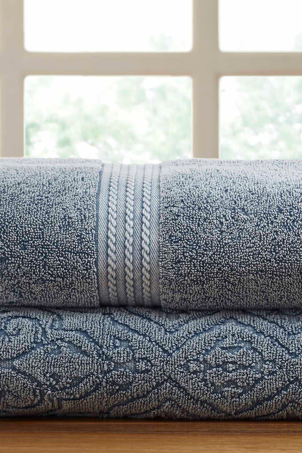 Image of Modern Threads Meb. Blue Fleur Lattice Denim Washed Bath Towel - Set of 2