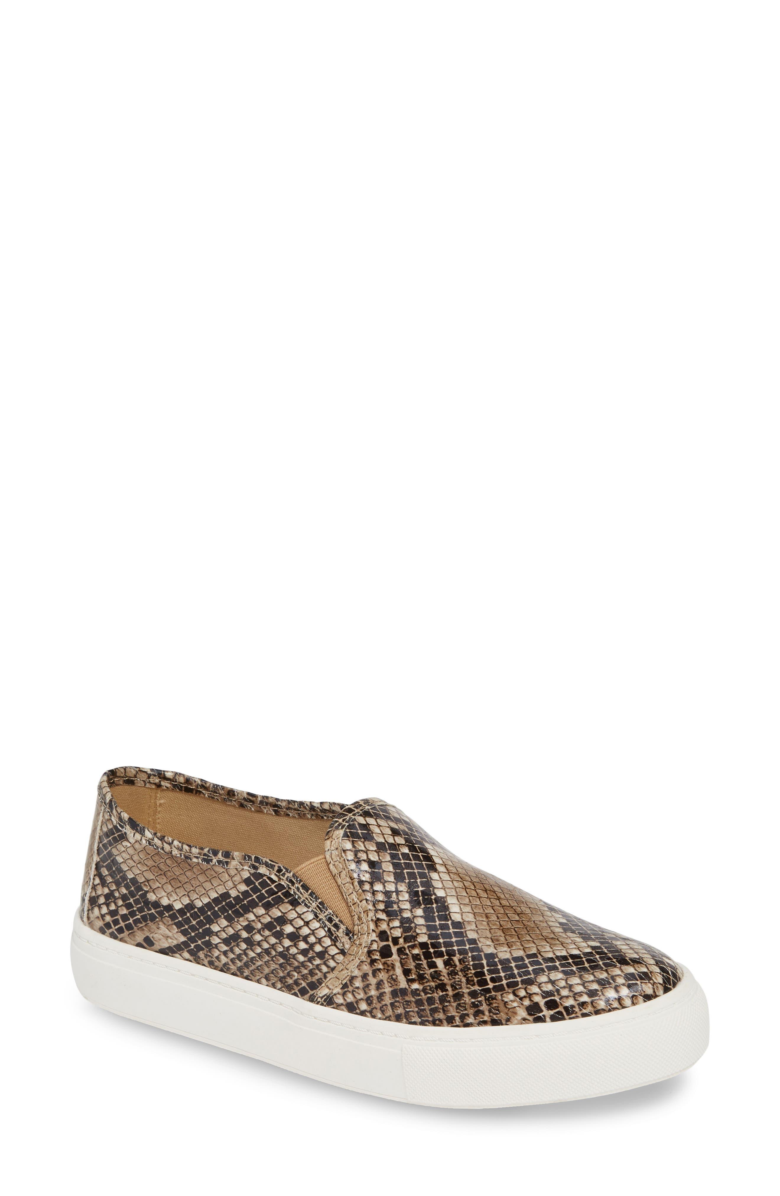 Mia Beca Snake Print Slip-On Sneaker, Beige