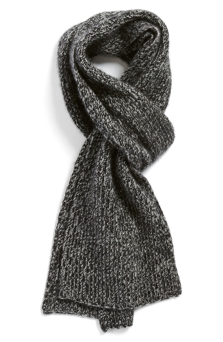 VINCE Ribbed & Marled Cashmere Scarf, Main, color, 003