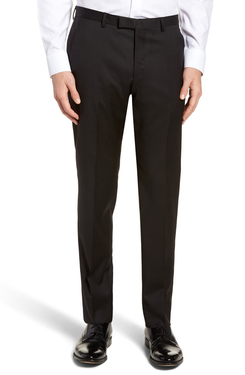 BOSS Lenon CYL Flat Front Straight Leg Solid Wool Dress Pants, Main, color, BLACK