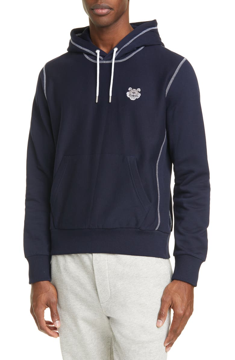 KENZO Tiger Crest Pullover Hoodie, Main, color, MIDNIGHT BLUE