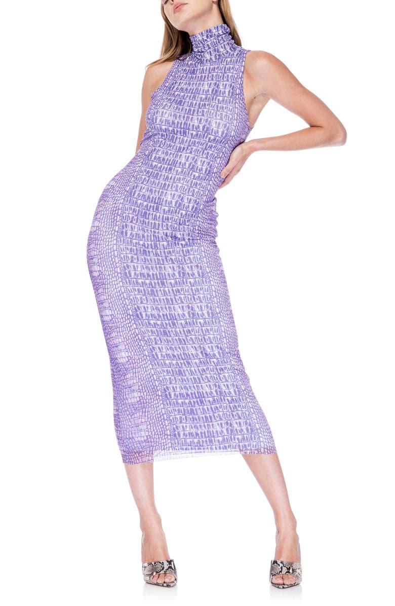 AFRM Poste Turtleneck Body-Con Maxi Dress, Main, color, PURPLE CROCODILE