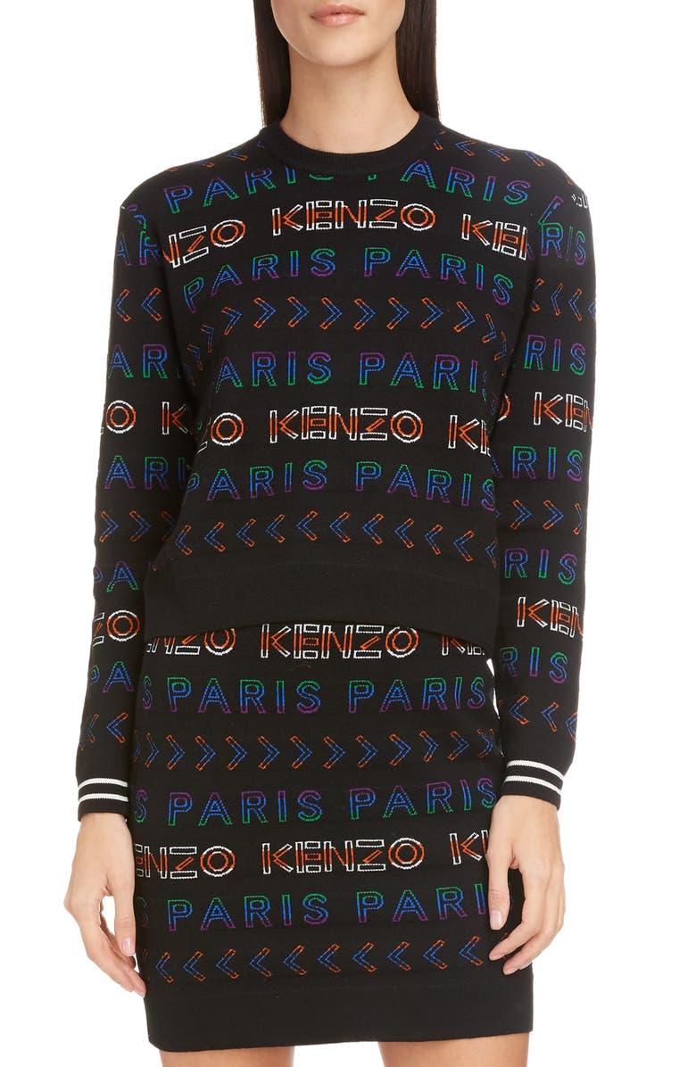 KENZO Logo Crewneck Sweater, Main, color, MULTICOLOR
