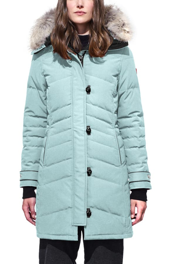 Canada Goose Lorette Hooded Down Parka With Genuine Coyote Fur Trim In Stormy Sky