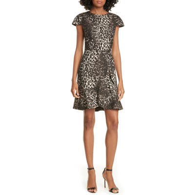 Alice + Olivia Kirby Ruffle Hem Dress, Brown