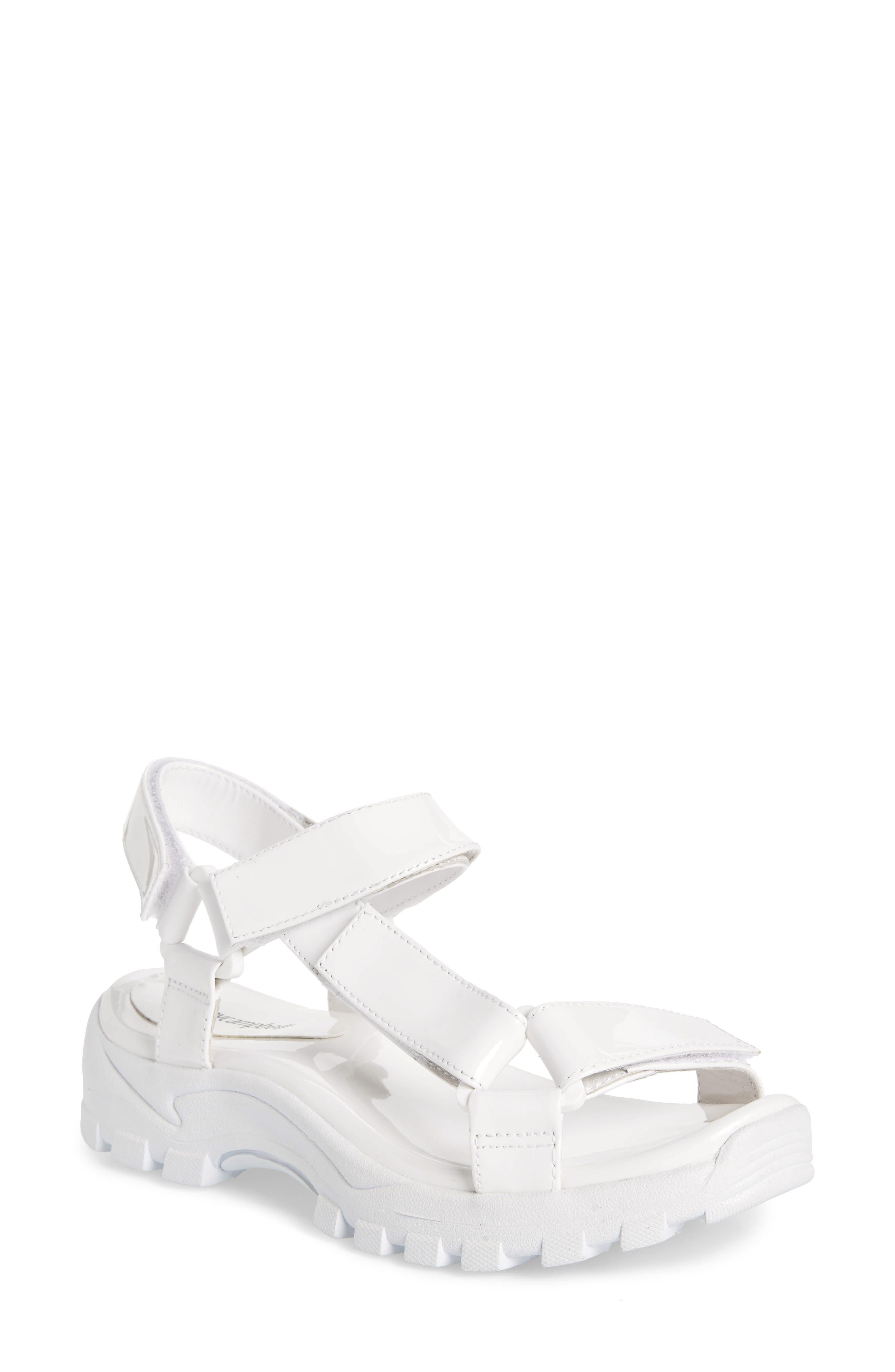 Patio Sport Sandal, Main, color, WHITE PATENT LEATHER/ WHITE