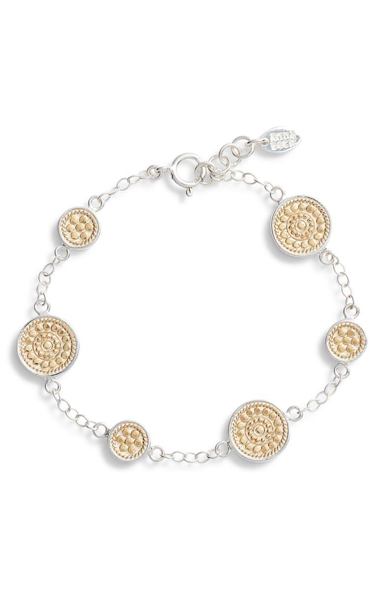 ANNA BECK Multi Disc Chain Bracelet, Main, color, GOLD/ SILVER