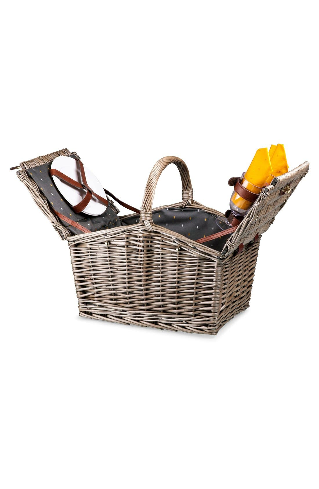 ,                             'Piccadilly' Wicker Picnic Basket,                             Alternate thumbnail 4, color,                             020