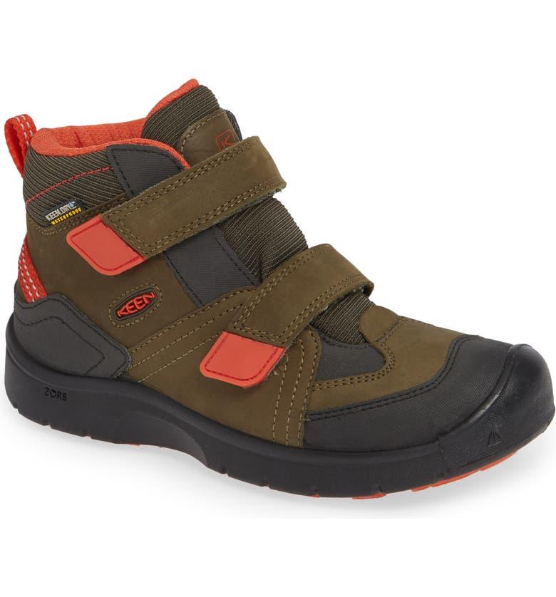 KEEN Hikeport Strap Waterproof Mid Boot, Main, color, MARTINI OLIVE/ PUMPKIN