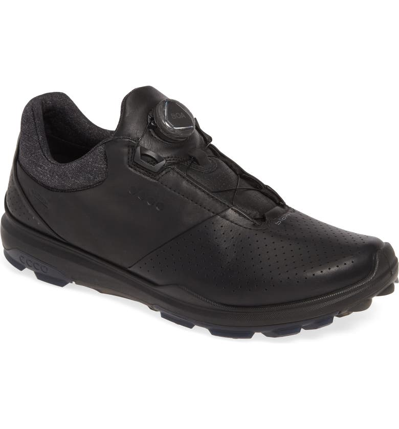 ECCO BIOM Hybrid 3 Gore-Tex<sup>®</sup> Golf Shoe, Main, color, BLACK LEATHER