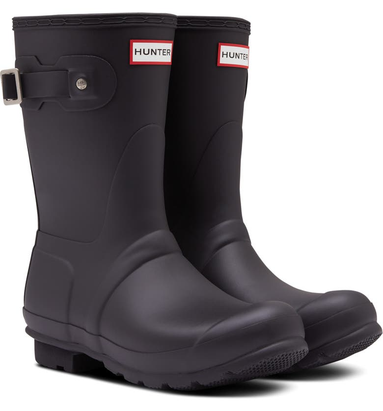 HUNTER Original Insulated Short Waterproof Rain Boot, Main, color, 001