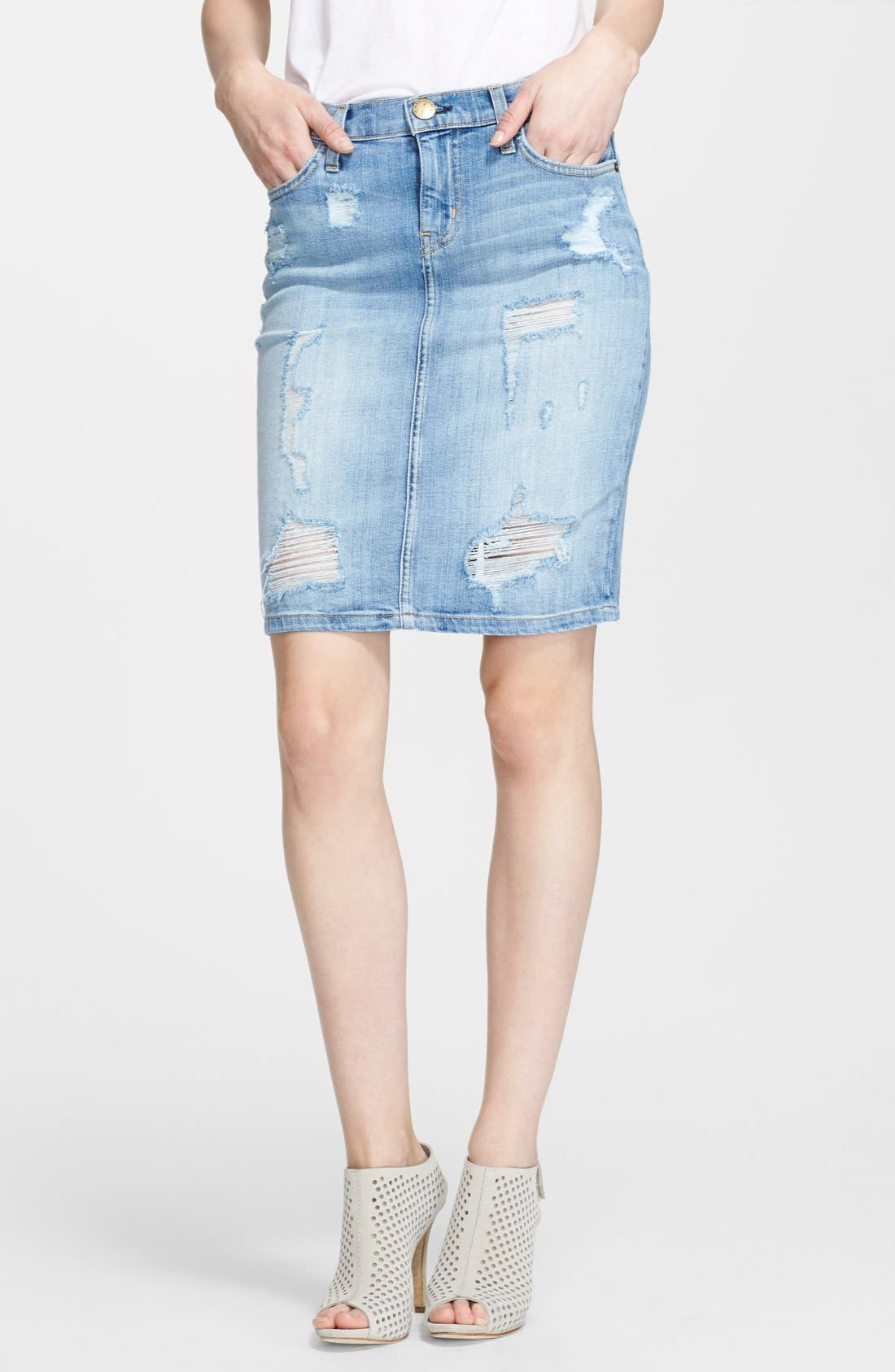 'The Stiletto' Destroyed Jean Skirt, Main, color, 481